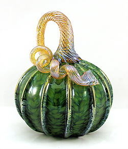 Small Spring Green with Gold Stripes by Ken Hanson and Ingrid Hanson (Art Glass Sculpture)