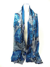 Floral Shawl in Lotus Gray Blue by Yuh  Okano (Wool Shawl)