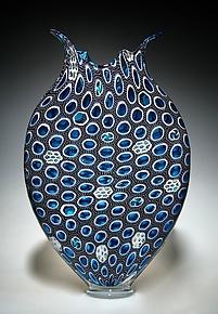 Midnight and Aquamarine Foglio by David Patchen (Art Glass Sculpture)
