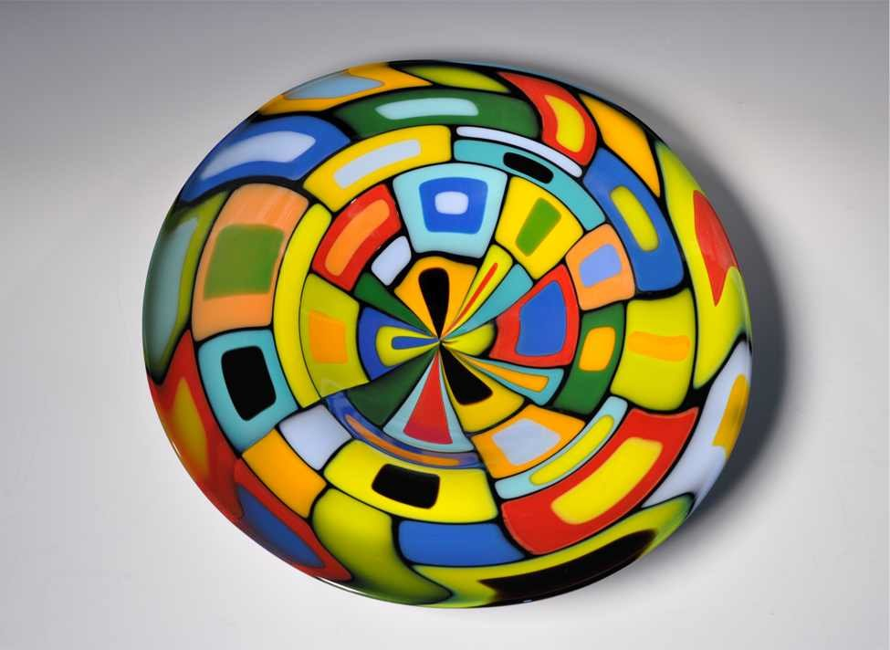 Large Round Blown Carnival Bowl By Helen Rudy Art Glass
