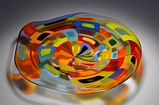 Large Transparent Blown Carnival Bowl by Helen Rudy  (Art Glass Bowl)