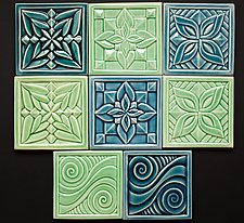Flower and Swirl Tiles by Lynne Meade (Ceramic Tile)