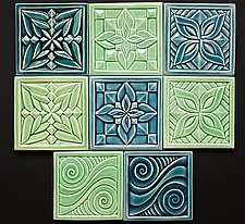 Flower and Swirl Tiles by Lynne Meade (Ceramic Tile)