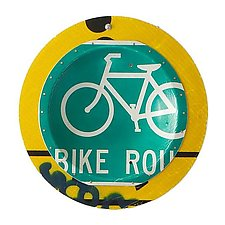 Green Bicycle Platter by Boris Bally (Metal Wall Sculpture)