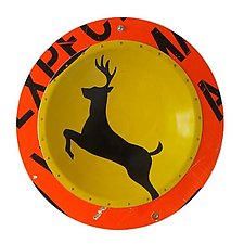 Deer X-Ing D. P. W.  Platter by Boris Bally (Metal Wall Sculpture)
