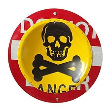 Danger D.P.W.  Platter by Boris Bally (Metal Wall Sculpture)
