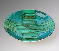 Turquoise Strata Bowl by Lynn Latimer (Art Glass Bowl)