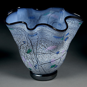 Sapphire Staccato Bowl by Eric Bladholm (Art Glass Bowl)