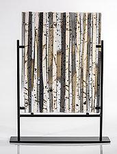 Birch Forest in Winter II by Varda Avnisan (Art Glass Sculpture)