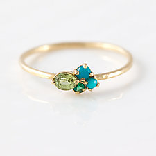 Turquoise Mini Cluster Ring by Melanie Casey (Gold & Stone Ring)