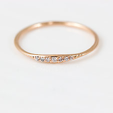 Diamond Tiny Line Band in Rose Gold by Melanie Casey (Gold & Stone Ring)