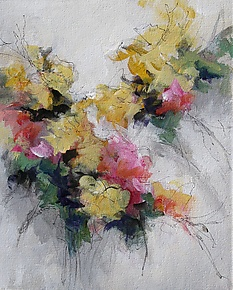 Floral 5 by Karen  Hale (Acrylic Painting)