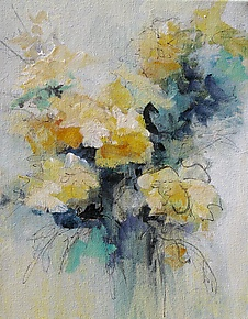 Floral 6 by Karen  Hale (Acrylic Painting)