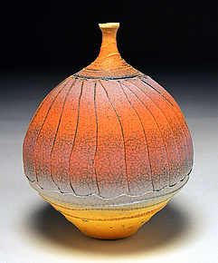 Wavy Facet Bottle by Nicholas Bernard (Ceramic Vessel)
