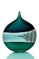 Carved Green Bottle by David Royce (Art Glass Vessel)