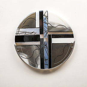 Silver Moon by Varda Avnisan (Art Glass Wall Sculpture)