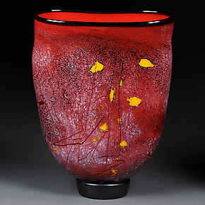 Crimson Cascade by Eric Bladholm (Art Glass Vessel)