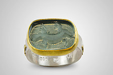 Salamander Intaglio Ring by Nancy Troske (Gold, Silver & Glass Ring)