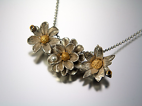 Row of Flowers Pendant with Garnets and Pearl by Carol Salisbury (Gold, Silver & Stone Necklace)