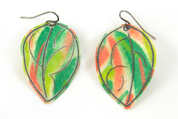 Green and Salmon Painted Paper  & Sterling Silver Earrings