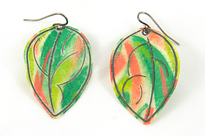 Green and Salmon Painted Paper  & Sterling Silver Earrings by Carol Windsor (Silver & Paper Earrings)
