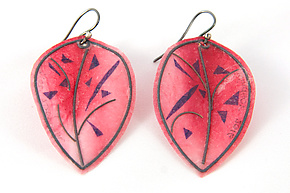 Pink Leaf Earrings with Purple Confetti by Carol Windsor (Silver & Paper Earrings)