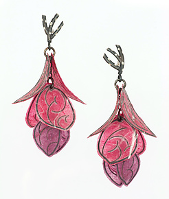 Rose Petal Flip Earrings by Carol Windsor (Silver & Paper Earrings)