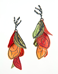 Autumn Petal Flip Earrings by Carol Windsor (Silver & Paper Earrings)