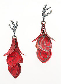 Crimson Six-Petal Flip Earrings by Carol Windsor (Silver & Paper Earrings)