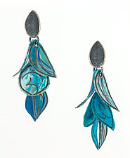 Azure Flip Earrings by Carol Windsor (Silver & Paper Earrings)