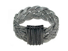 Braided Mesh Bracelet with Textured Magnetic Clasp by Erica Zap (Metal Bracelet)