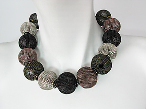 Mesh Necklace with All-Around Large Mesh Beads by Erica Zap (Metal Necklace)