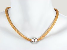 Thick Mesh Necklace with Metal Bead by Erica Zap (Metal Necklace)