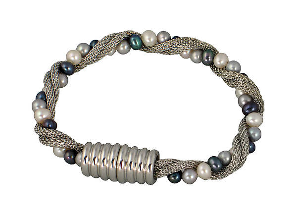 Mesh & Pearl Twist Bracelet with Magnetic Clasp