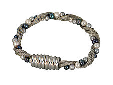Mesh & Pearl Twist Bracelet with Magnetic Clasp by Erica Zap (Metal & Pearl Bracelet)