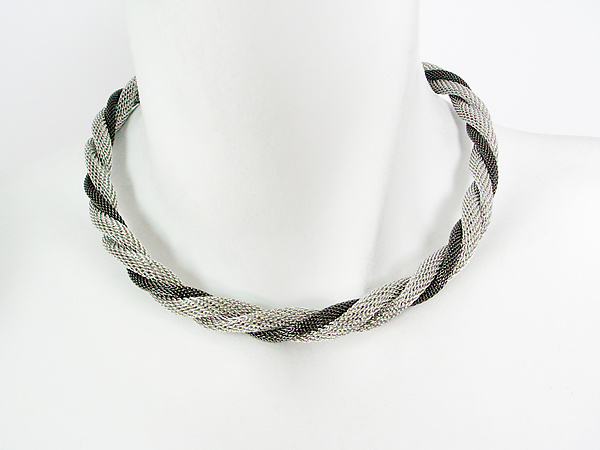 Two-Tone Twisted Mesh Necklace