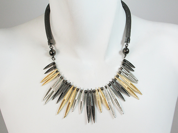 Mesh Necklace with Chevron Textured Marquis Bib