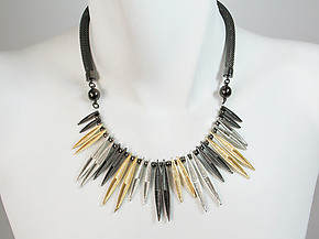 Mesh Necklace with Chevron Textured Marquis Bib by Erica Zap (Metal Necklace)
