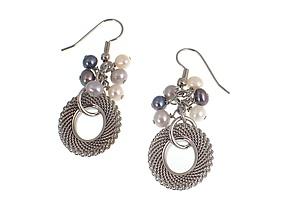 Mesh & Pearl Cluster Drop Earrings by Erica Zap (Metal & Pearl Earrings)