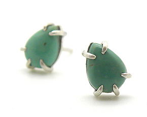 Tiny Turquoise Vanity Studs by Hannah Blount (Silver & Stone Earrings)