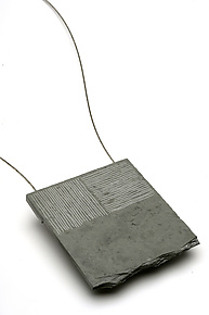 Slate & Steel Neckpiece by Kathleen Dustin (Stone & Steel Necklace)