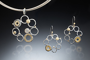 Multi-Hoop Necklace & Earrings by Sally Craig (Gold, Silver & Stone Jewelry)