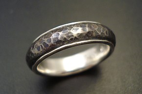 Titanium Hammered Band by Tavia Brown (Titanium Ring)
