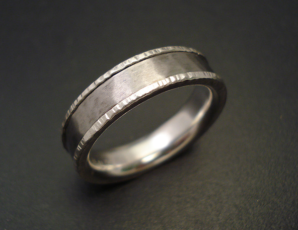 Titanium Hammered Band with Edging Texture