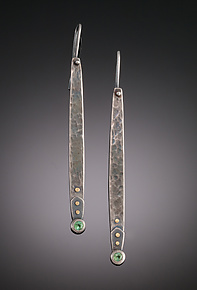 Intrepid Long Dangles by Tavia Brown (Gold, Titanium & Stone Earrings)