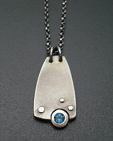 Intrepid Simple Pendant by Tavia Brown (Silver, Titanium & Stone Necklace)