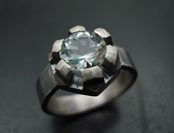 Fortress Ring with Green Amethyst