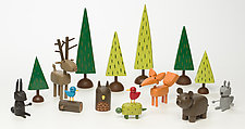 Woodland Scene by Hilary Pfeifer (Wood Sculpture)