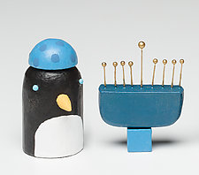 Penguin with Menorah by Hilary Pfeifer (Wood Sculpture)