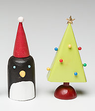 Penguin with Christmas Tree by Hilary Pfeifer (Wood Sculpture)